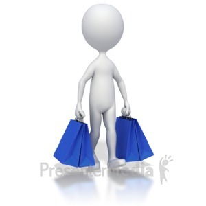 ID# 5497 - Walking With Shopping Bags - Presentation Clipart