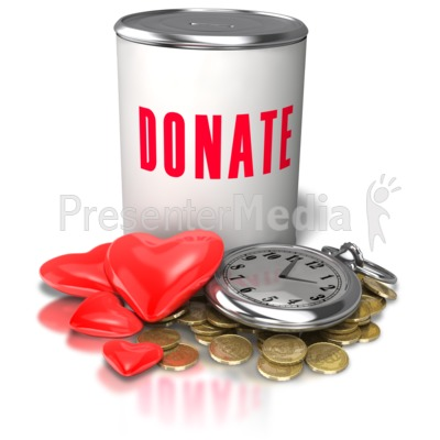 Donation Time Money Heart PowerPoint Clip Art