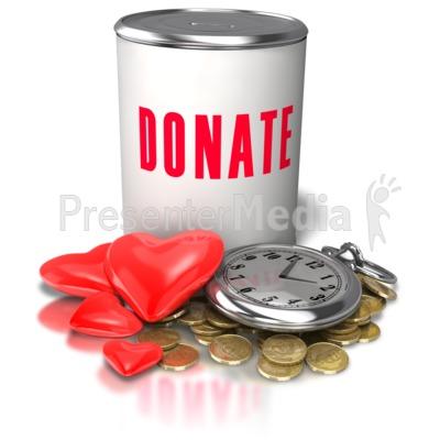 Donation Time Money Heart PowerPoint Clip Art