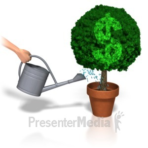 ID# 5516 - Watering Dollar Plant - Presentation Clipart