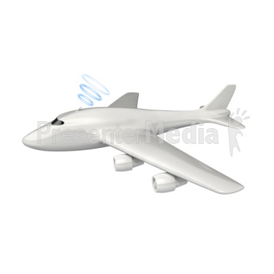 Wireless Airplane Communication PowerPoint Clip Art