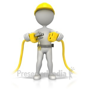 ID# 5536 - Electrician Plug It In - Presentation Clipart