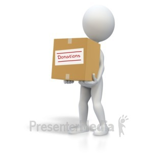 ID# 5542 - Stick Figure Carrying Donations Box - Presentation Clipart