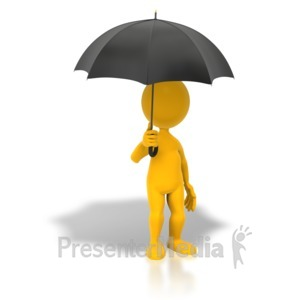 ID# 5544 - Stick Figure Holding Umbrella - Presentation Clipart