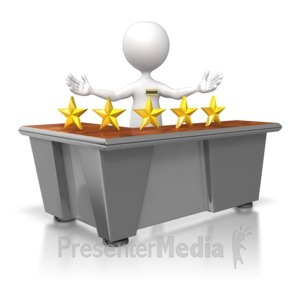 ID# 5563 - Five Star Customer Service Stick Figure - Presentation Clipart