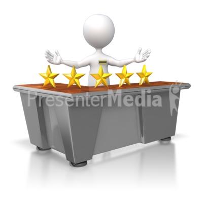 Five Star Customer Service Stick Figure PowerPoint Clip Art