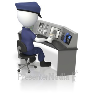 ID# 5586 - Officer At Security Surveillance Desk  - Presentation Clipart