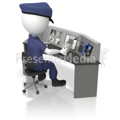 Officer At Security Surveillance Desk  PowerPoint Clip Art