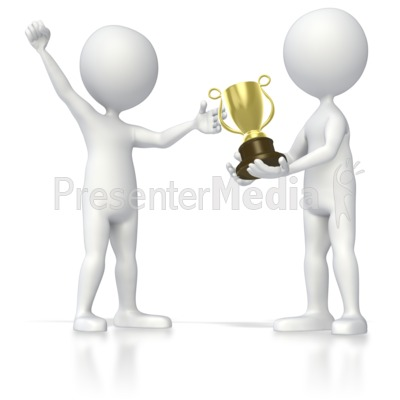 Stick Figure Receiving Trophy PowerPoint Clip Art
