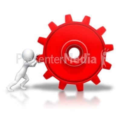 Stick Figure Pushing Gear PowerPoint Clip Art