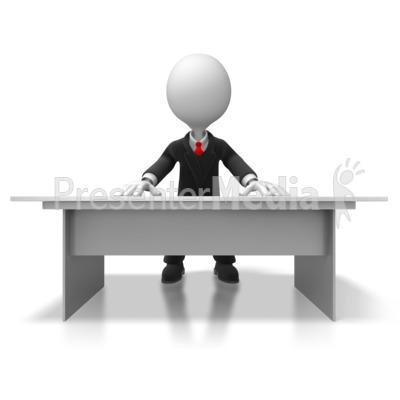 Boss Behind Desk PowerPoint Clip Art