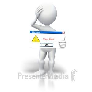 ID# 5641 - Stick Figure Virus Alert Button - Presentation Clipart