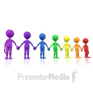 ID# 5643 - Holding Hands Group Spectrum Line - Presentation Clipart
