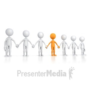 ID# 5644 - Group Line with Key Stick Figure - Presentation Clipart