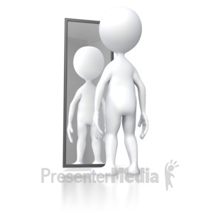 ID# 5647 - Stick Figure Looking In Mirror - Presentation Clipart