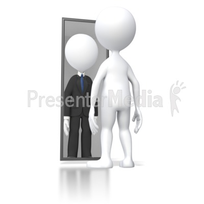 Looking In Mirror Successful PowerPoint Clip Art