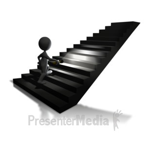 ID# 5669 - Walking Up Stairs Flashlight - Presentation Clipart