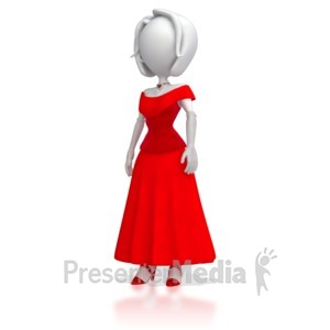 ID# 5675 - Stick Figure in Elegant Dress - Presentation Clipart