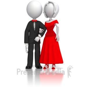 ID# 5679 - Fancy Stick Figure Couple - Presentation Clipart