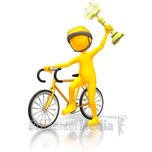 ID# 5686 - Racer Winner Gold Trophy - Presentation Clipart