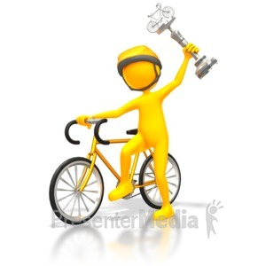 ID# 5688 - Cyclist Racer Wins Silver Trophy - Presentation Clipart