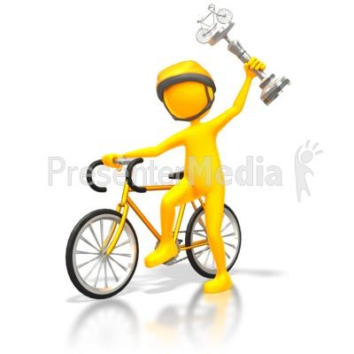 Cyclist Racer Wins Silver Trophy PowerPoint Clip Art