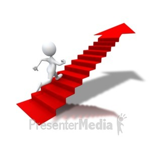 ID# 5692 - Running Up Arrow Stairs - Presentation Clipart