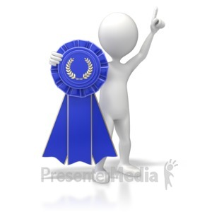 ID# 5718 - Figure With Blue Ribbon - Presentation Clipart