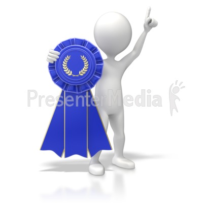 Figure With Blue Ribbon PowerPoint Clip Art