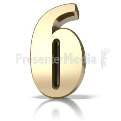 Gold Six PowerPoint Clip Art