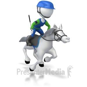 ID# 5727 - Jockey Racing Horse - Presentation Clipart