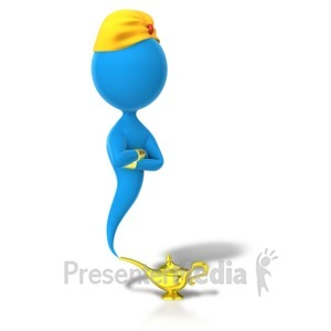 ID# 5730 - Genie Appearing From Lamp - Presentation Clipart
