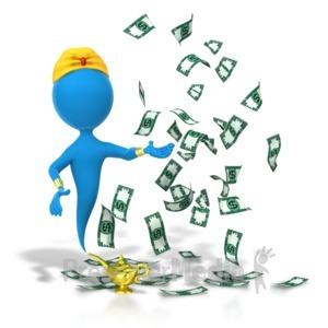 ID# 5734 - Genie Money Wish Granted - Presentation Clipart