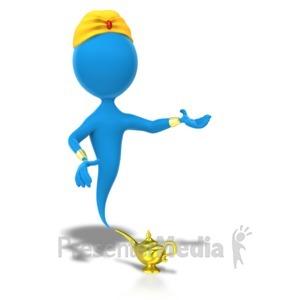 ID# 5735 - Genie Presentation Side - Presentation Clipart