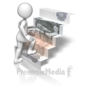 ID# 5751 - Stick Figure Climbing British Money Stai - Presentation Clipart