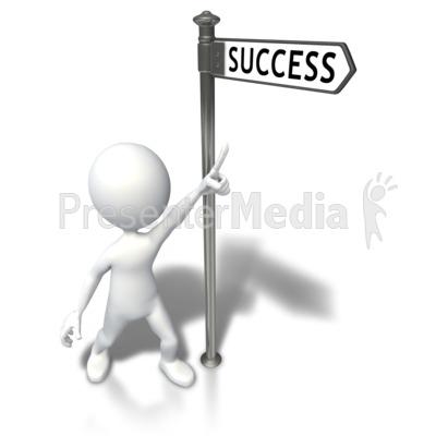 Street Sign Stick Figure Success PowerPoint Clip Art