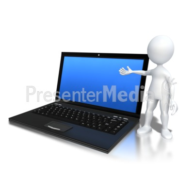 Stick Figure Standing By Laptop PowerPoint Clip Art