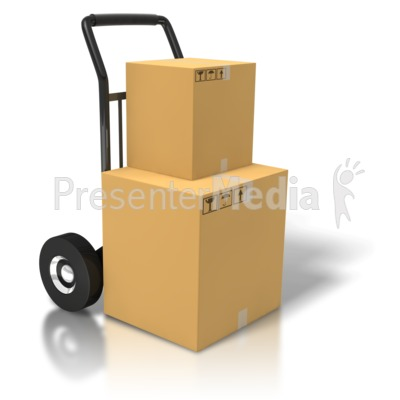 Boxes On A Dolly PowerPoint Clip Art