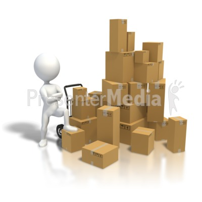 Standing By Pile Boxes PowerPoint Clip Art