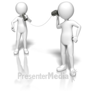 ID# 5814 - Stick Figures Using Tin Can Phone - Presentation Clipart