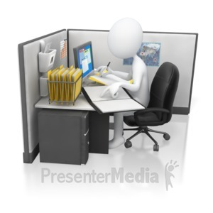 ID# 5818 - Stick Figure Office Worker Hard At Work - Presentation Clipart