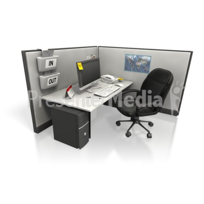 Empty Cubicle Angle Two PowerPoint Clip Art