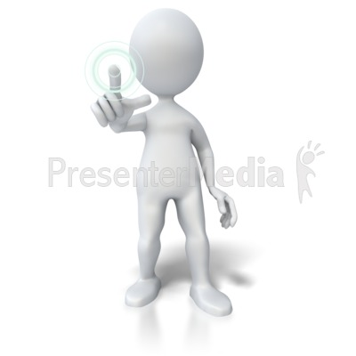 Pushing Hologram Button PowerPoint Clip Art