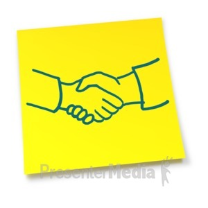 ID# 5831 - Yellow Sticky Note Handshake - Presentation Clipart