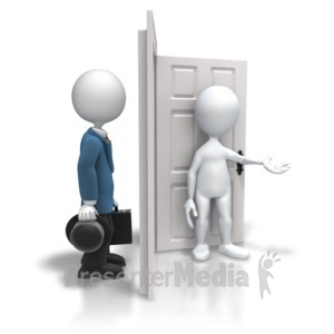 ID# 5847 - Open Door Welcoming Salesman - Presentation Clipart