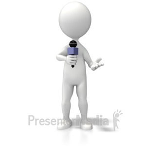 ID# 5853 - Reporter With Microphone - Presentation Clipart