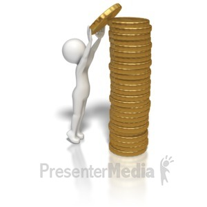 ID# 5867 - Stick Figure Stacking Gold Coins - Presentation Clipart