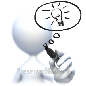 ID# 5876 - Drawing Light Bulb With Pen - Presentation Clipart