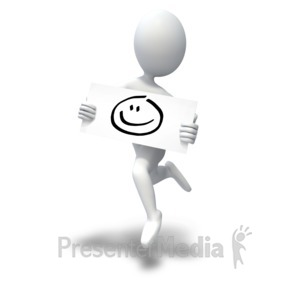 ID# 5882 - Happy Face Stick Figure Jumping - Presentation Clipart