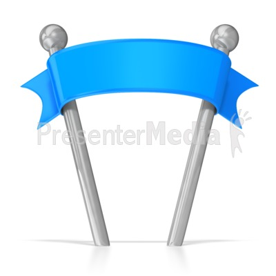 Blank Ribbon Banner on Poles PowerPoint Clip Art